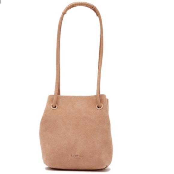 f36a46335d9 Halston Heritage Handbags - Halston Heritage Alism Taupe Suede Bucket Bag